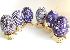 purple and lilac pysanka Egg with hearts by UkrainianEasterEggs