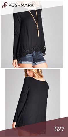 "No So Basic Black Long Sleeve Lace Trim Top All long sleeve Top featuring a Lace trim and high low hem.  Model is wearing a small. Front 26"", Back 32"", Chest 18"". Rayon 96% & Spandex 4%. Tops"