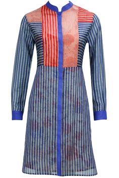 Blue and red handloom stripe tunic with printed slip available only at Pernia's Pop-Up Shop.