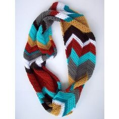 Crochet Chevron Patterned Infinity Scarf- Multicolored