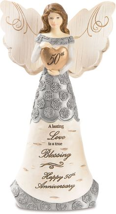 Elements Angel Figurine -  A lasting love is a true blessing ~ Happy 50th Anniversary