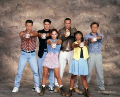 Mighty Morphin' Power Rangers - Promo shot of Steve Cardenas, David Yost, Karan Ashley, Amy Jo Johnson, Jason David Frank & Johnny Yong Bosch
