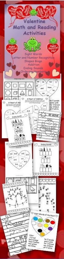 Valentine's Day Activities for PreK-K $ Sight Words - Number and Letter Recognition - Shapes - Ending Sounds - Addition - Ordering Numbers