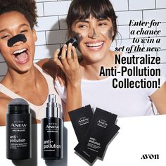 Enter for a chance to win the new Avon Anew Neutralize Anti-Pollution Collection! (includes 1 Serum, 1 Charcoal Mask Stick, and 2 Charcoal Pore Strips) 5 winners total. Ends Share with friends! Avon Sales, Pore Strips, Avon Online, Charcoal Mask, Clogged Pores, Avon Representative, Street Smart, Medium, Skin Care