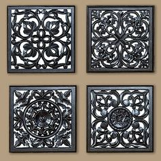 Beautiful wall decor addition -- adds light and intrigue! Mirrored Carved Plaque, Set of 4 #WorldMarket