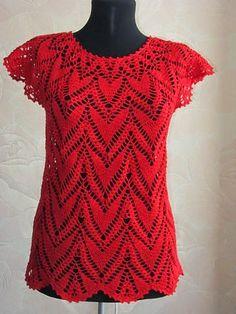 Entre um Fio e Outro: Blusas Crochê Crochet Cross, Crochet Baby, Crochet Top, Clothing Patterns, Knitting Patterns, Crochet Patterns, Blouse Tutorial, Dressy Tops, Crochet Woman
