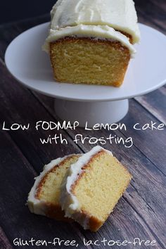 Low FODMAP lemon cake with a delicious tangy frosting. Gluten-free and lactose-free.