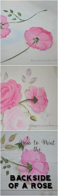 Learn How to Paint the Back side of a Rose! A free video is included so you can watch it done. Fun and easy for everyone. Come paint with me! FlowerPatchFarmhouse.com