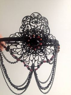 Black Red Garnet Stone Gothic Crown Diadem Dark Fashion Atmosphere Bohemian Decoration Womens This decoration is very lacy, light, atmospheric. I made it from matte filigree connectors, used Czech beads, black onyx bead and faceted Garnet stone beads that hang over the face, along with