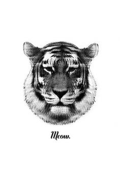 TIGER SAYS MEOW Artprint RK Design #tigersaysmeow #blackandwhiteartprint #artprint #rkdesign available at our Austrian Interior and Lifestyle Concept Store www.HEIMELIG-SHOP.com