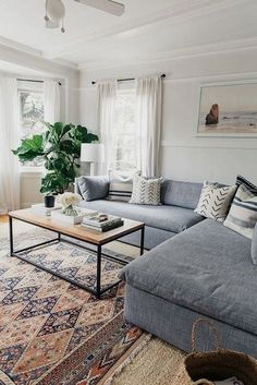 Having small living room can be one of all your problem about decoration home. To solve that, you will create the illusion of a larger space and painting your small living room with bright colors c… Coastal Living Rooms, Living Room Grey, Living Room Furniture, Cozy Living, Boho Chic Living Room, Furniture Stores, Wooden Furniture, Room And Board Living Room, Modern Living Rooms
