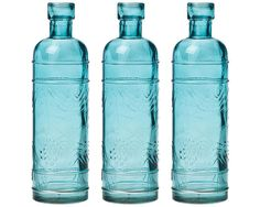 Small Antique Turquoise Bottle Vase (Set of 3)