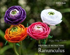 Crochet Ranunculus Pattern Crochet Flower by HappyPattyCrochet