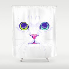 White cute cat Shower Curtain by Oh Wow! Printed in USA. Machine washable.