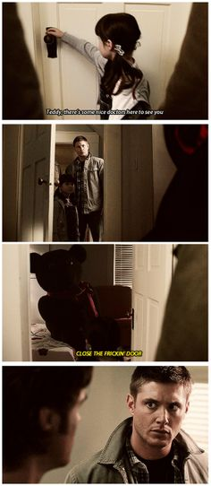 Supernatural. [gifset] 4x08 Wishful Thinking #SPN #Dean #Sam //  A friggin' suicidal teddy bear?! Any other show, the 'shark' would have been officially 'jumped' at this point...but nooo, this is Supernatural!  For us, this is only Season 4! Bwah hahahah!!