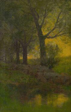 """""""Landscape,"""" Charles Warren Eaton, oil on canvas, 18 x 12 1/2"""", Spanierman Gallery."""