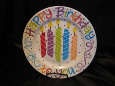 Happy Birthday plate by claypotspottery on Etsy Painted Ceramic Plates, Painted Mugs, Hand Painted, Sharpie Projects, Sharpie Crafts, Sharpie Plates, Pottery Wheel Diy, Pottery Ideas, Pottery Painting