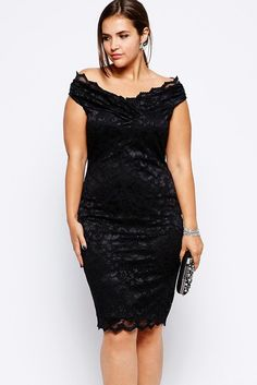 Plus Lace Overlay V Neck Dress LAVELIQ Material: Polyester + Spandex Size: Xxl Color: Black Style: Cute, Sexy Occasion: Summer, Party Dresses Pattern: Solid Neckline: Slash Neck Sleeve Length: Short D