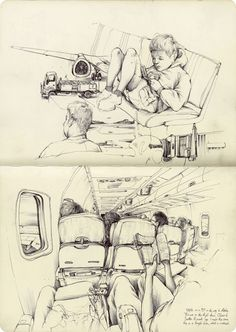 Sketch Book In Alaska - Art by Pat Perry. this would be a nice style of using space when it comes to sketching Pat Perry, Illustration Sketches, Drawing Sketches, Art Drawings, Drawing Ideas, Travel Sketchbook, Art Sketchbook, Fashion Sketchbook, Moleskine