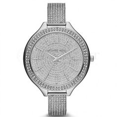 Mid-Size Silver Color Runway Three-Hand Glitz Watch by Michael Kors at Neiman Marcus.