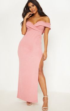 cb3e956b3b Dusty Pink Bardot Fold Detail Extreme Split Maxi Dress