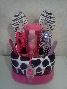 Mani/pedi gift basket idea. Great gifts for teen girls / friends birthday present / coworker / teacher / thank you.