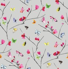Mazarine (97530) - Albany Wallpapers - A stylish butterfly pattern bursting with confetti colours. Mazarine features multiple brightly coloured hand painted butterflies against rich coloured background. This is a non woven paste the wall product. Shown here in on a grey metallic background - more colours are available. Please request a sample for true colour match.