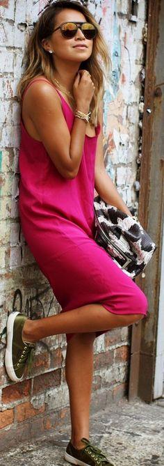 Fuchsia Chiffon Tank Midi Dress by Sincerely Jules