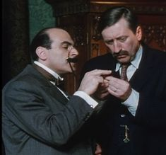 David Suchet - Hercule Poirot and Philip Jackson - Chief Inspector James Japp - http://www.poirot.us/pgallery.php