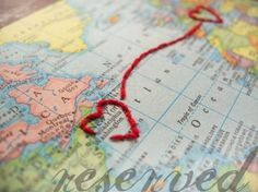 Embroidered Map **cute for card to send him or for scrapbook**
