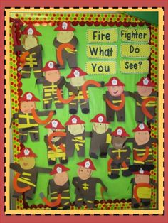 Love Those Kinders!: Firefighters and Bulletin Boards Kindergarten Activities, Preschool Activities, Preschool Art, Community Helpers Crafts, Fire Safety Week, Fire Prevention Week, Community Workers, Preschool Bulletin Boards, Thing 1