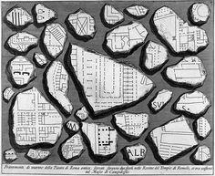 Forma Urbis Marmorea. Frammenti di Marmo della pianta della Roma Antica. De La antichitá romana. Gian Battista Piranesi, 1756