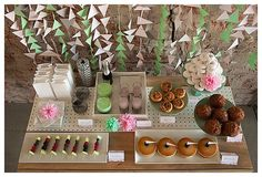 Table with styled food for bridal shower