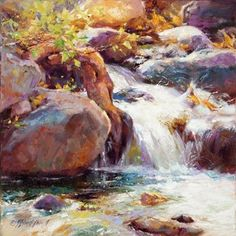 """Roots, Rocks and Fizzy Water"" - x Oil - Artist: Julie Pollard Watercolor Video, Watercolor Landscape, Watercolour Painting, Landscape Art, Landscape Paintings, Colorful Paintings, Seascape Paintings, Waterfall Paintings, Lion Painting"