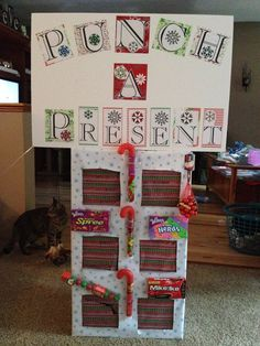 I got the idea for this from here. But instead of just presents in each hole, I wrapped clues and sent my nieces on a scavenger hunt to find their gifts! It was different, interactive, and fun!!!