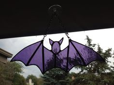 Purple stained glass bat