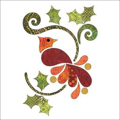 Christmas Cardinal - Batik - Applique Set by Patricia E. Ritter Laser cut iron-on fabric applique pieces backed with Steam-A-Seam 2 (a fusible webbing that is not permanent until ironed). Bird Applique, Applique Quilt Patterns, Machine Applique, Applique Designs, Embroidery Applique, Quilting Designs, Felt Patterns, Applique Tutorial, Quilting Stencils