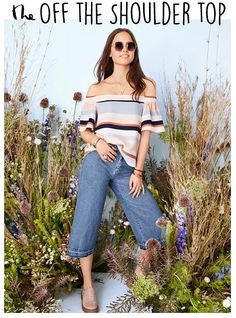 If you're feeling adventurous, go for the Off The Shoulder Top, featured now in Dotti.
