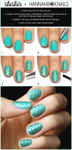 DIY Mermaid Nail Art Manicure Tutorials Summer Beach Nails