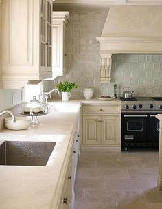 lovely tile backsplash, textured sink, colors