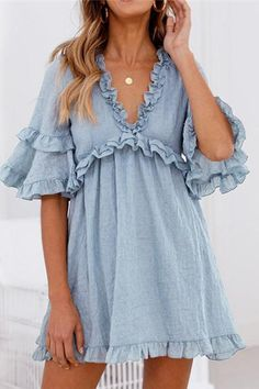 Depway Daily V Neck Ruffle Design Mini Dress Cute Dresses, Casual Dresses, Fashion Dresses, Dresses With Sleeves, Summer Dresses, Sleeve Dresses, Mini Dresses, Women's Dresses, Cheap Dresses