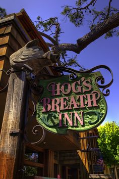 Hogs Breath Inn - Carmel by the Sea - Restaurant. Clint Eastwood at one time was the mayor of Carmel and former owner of The Hogs Breath Inn. Carmel California, California Dreamin', Monterey California, California Honeymoon, Northern California, The Places Youll Go, Places To See, Pub Signs, Shop Signs