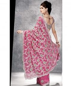 Magnifique sari de mariage rose argent