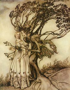 """""""Suddenly the branches twined round her and turned into two arms.""""  The Old Woman in the Wood, from The Grimm's Fairy Tales, illustration by Arthur Rackham."""