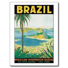 Voyage vintage Brésil Cartes Postales   Zazzle