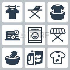 Iconos lavander�a vector fijadas photo