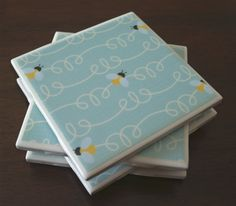Bumblebee Tile Coasters  Sky Blue Bees by MichyCreations on Etsy, $12.00