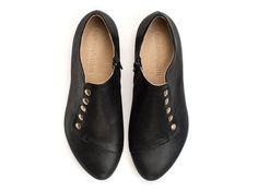 Grace Black Flats leather shoes by TamarShalem on Etsy, $189.00