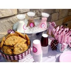 MILK and COOKIES Birthday Party Printables Collection - PINK. $40.00, via Etsy.