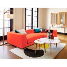 Orange sofa.